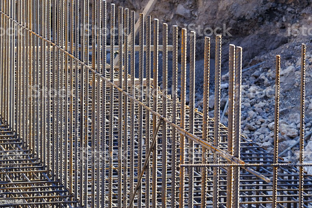 steel bars reinforcement on a construction site. stock photo