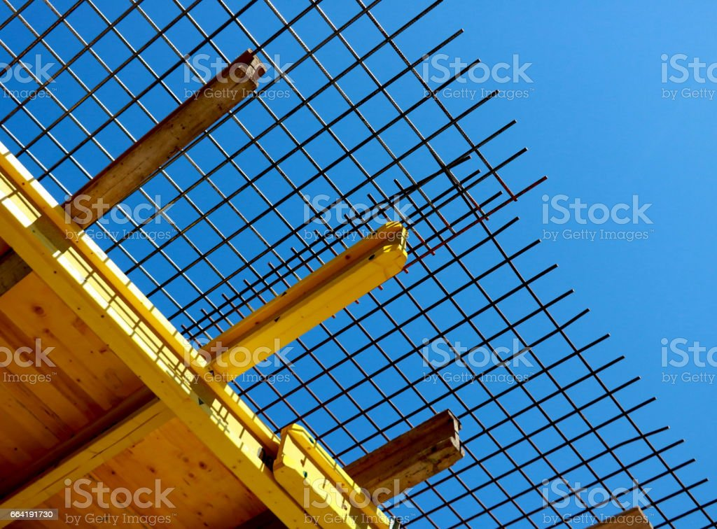 Steel bars under the blue sky stock photo