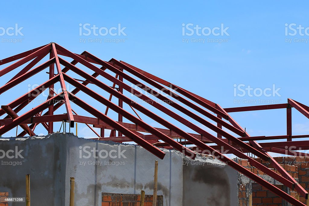 steel beam on roof building construction house stock photo