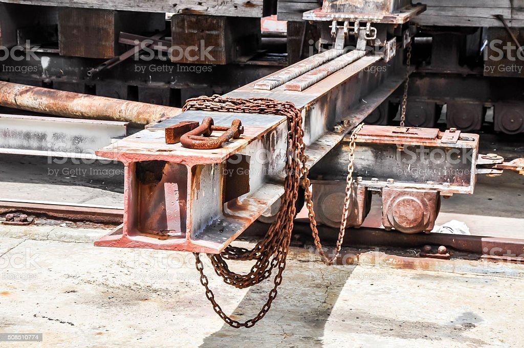 Steel Beams on Tracks: Shipping Port stock photo