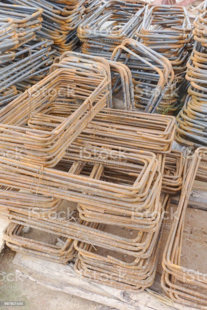 Steel bending work prepare for construction work stock photo