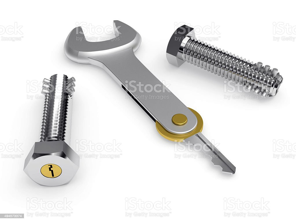 Steel bolts with built-in lock and conceptual key stock photo
