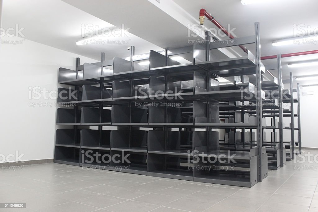 Steel bookcases stock photo