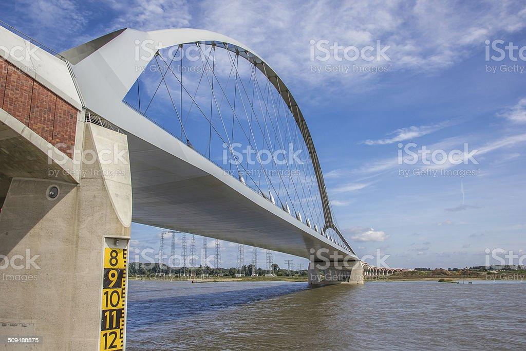 Steel bridge across the river Waal in Nijmegen stock photo