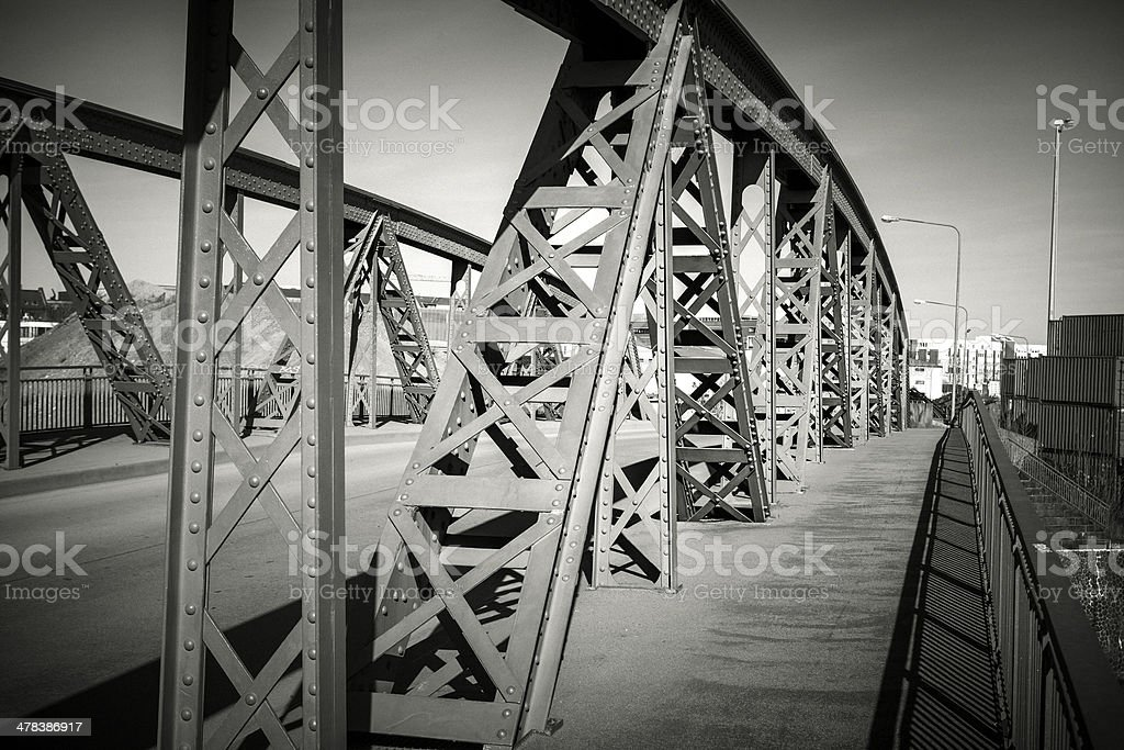 Steel bridge, black and white royalty-free stock photo