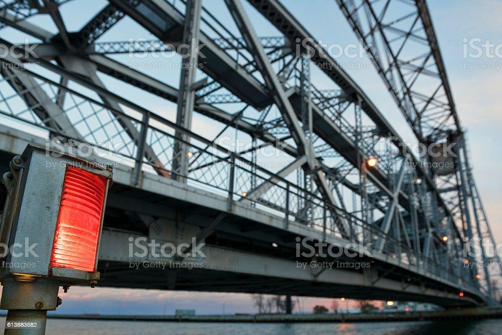 Steel Bridge over water - Duluth Lift Bridge stock photo