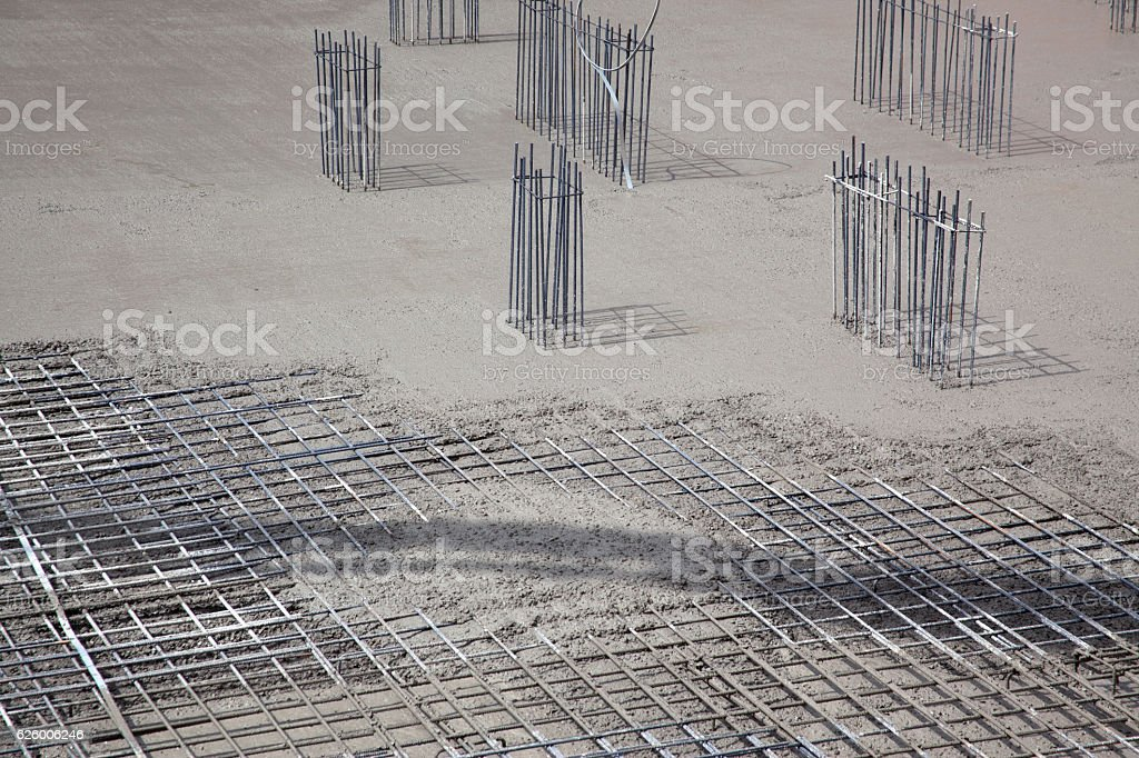 Steel building armature with cement stock photo