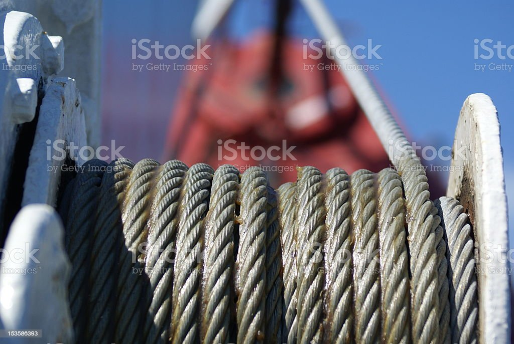 Steel cable on winch royalty-free stock photo