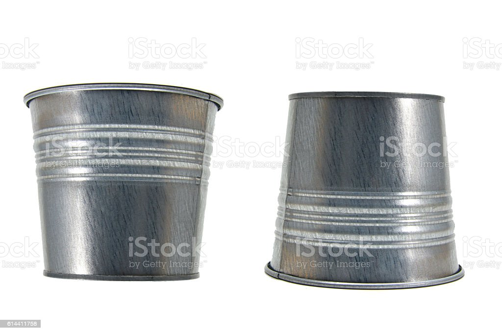 Steel cans upside down royalty-free stock photo