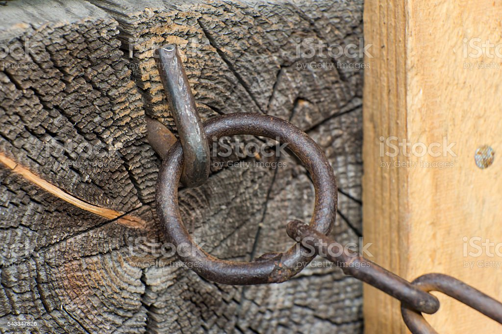 Steel chain of iron corroded by rust. Very old. Strong stock photo