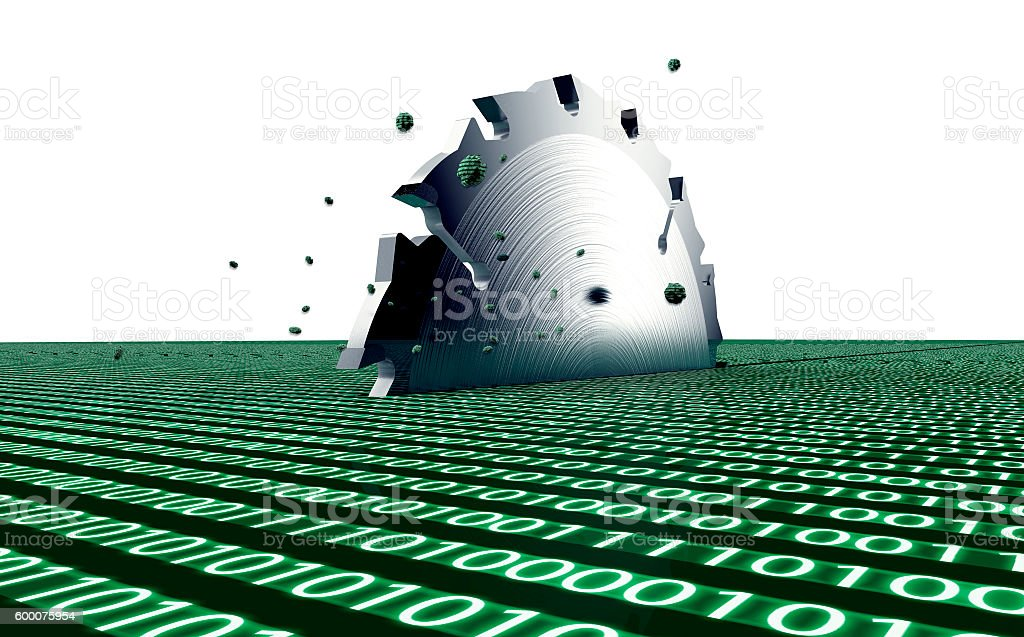 steel circle saw is destroying data stock photo