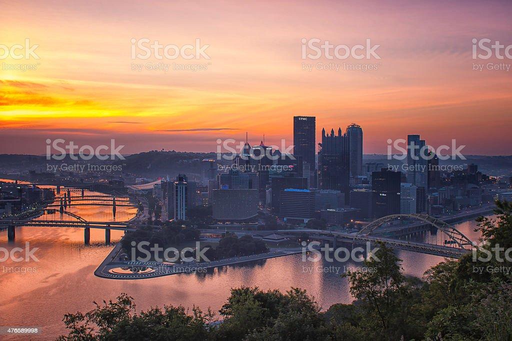 Steel City Sunrise stock photo