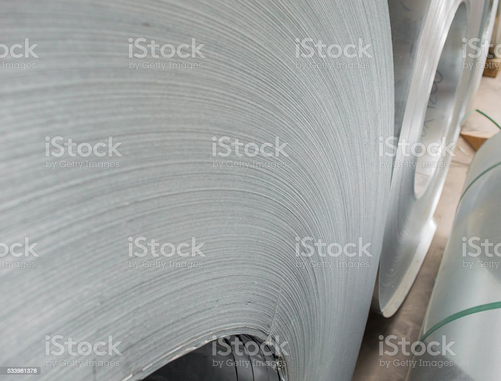 Steel coil closeup stock photo