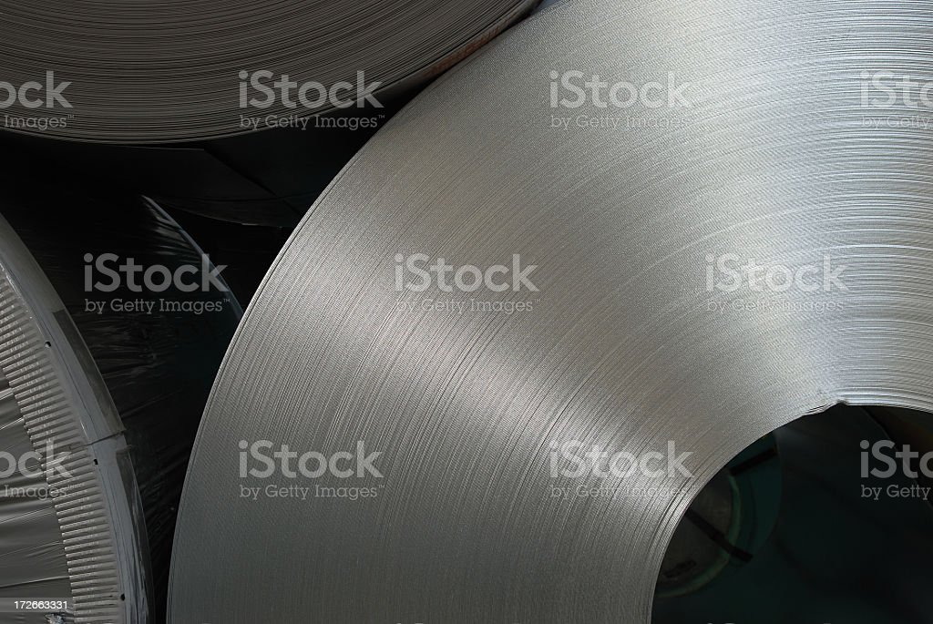 Steel coils stock photo