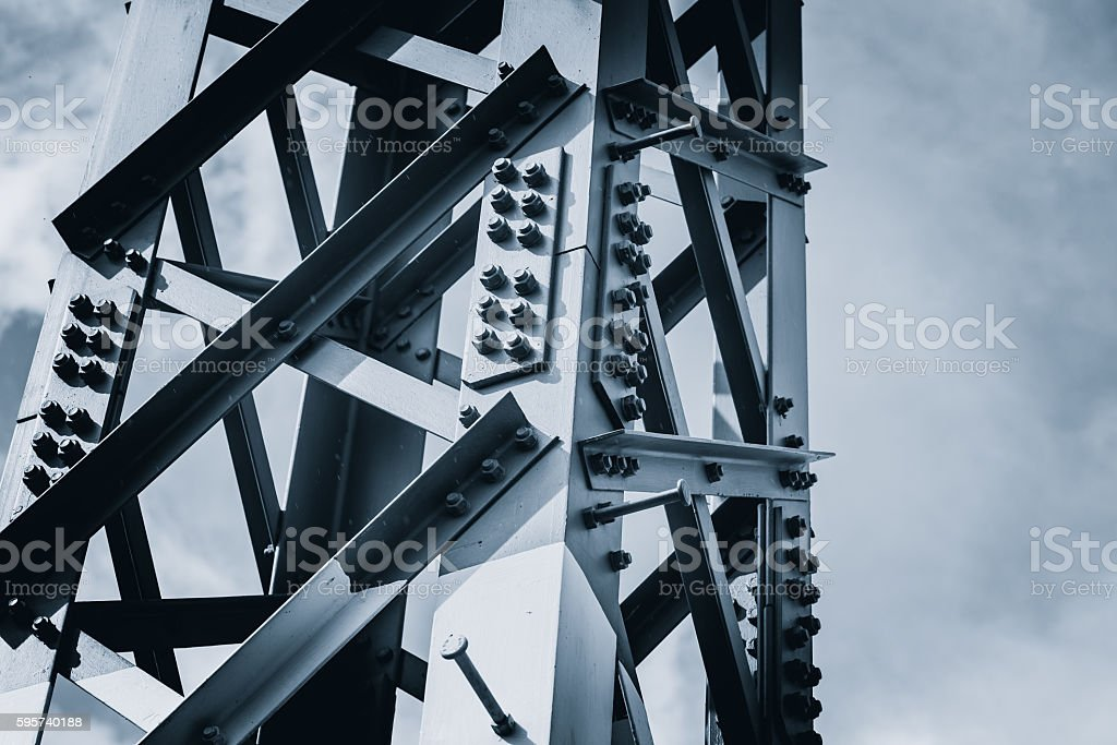 steel construction dark color tone for solid strong metal background. stock photo