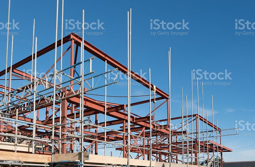 Steel construction frame stock photo