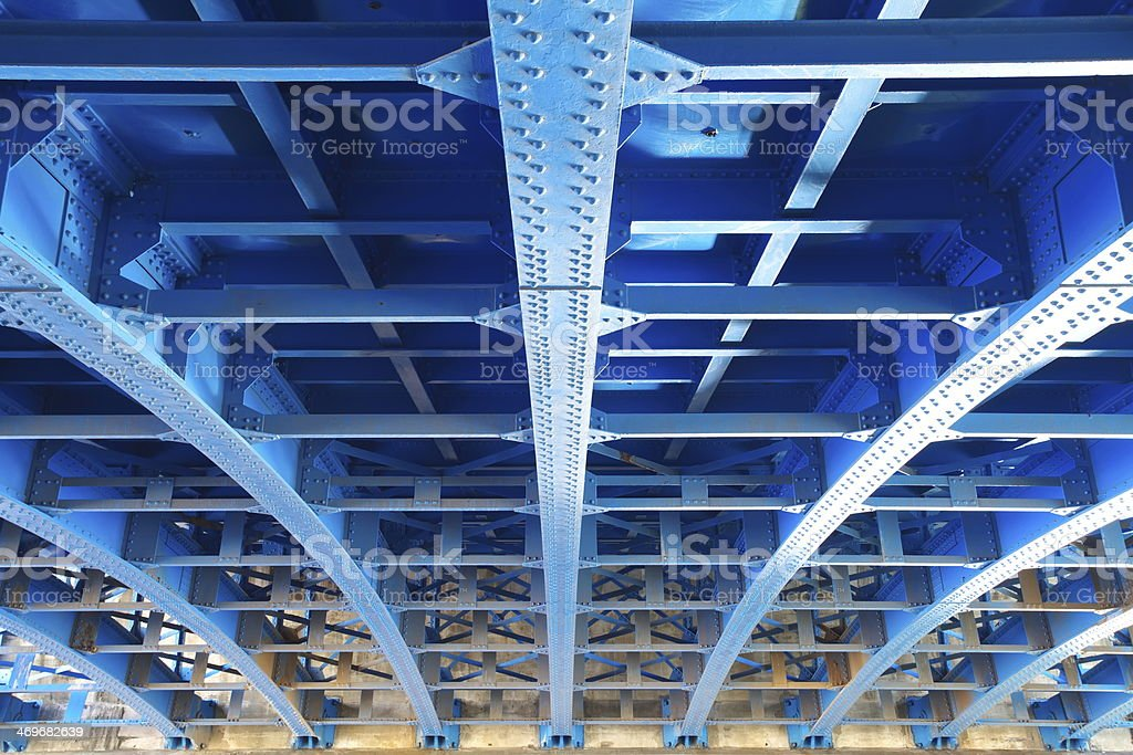 steel construction from under the bridge stock photo