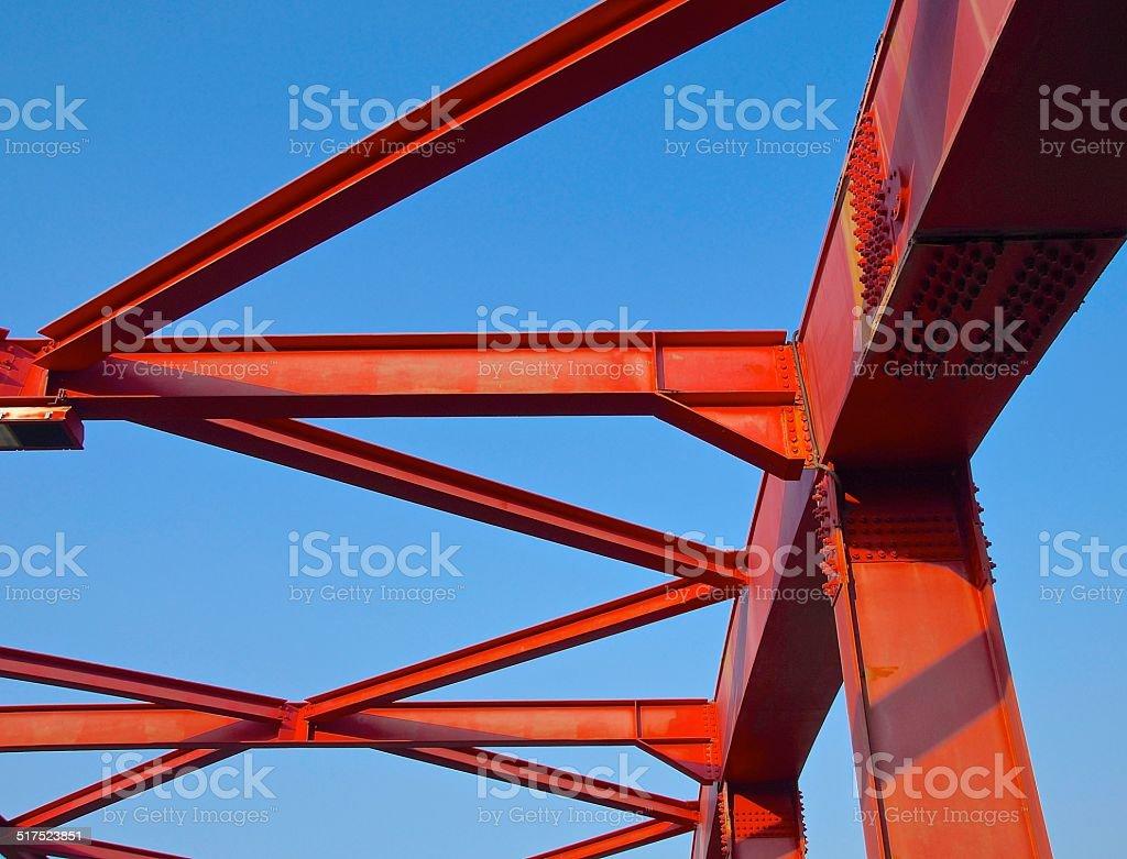 Steel construction of bridge stock photo