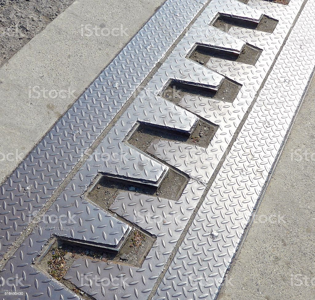Steel construction of bridge with expansion joints stock photo