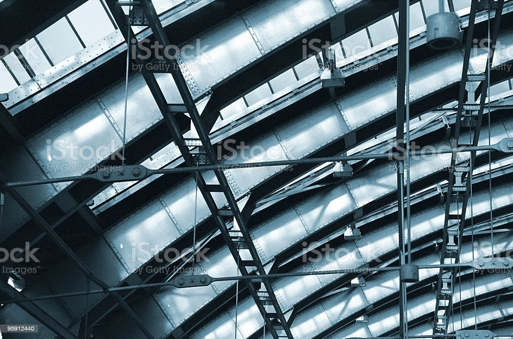 Steel construction of train station royalty-free stock photo