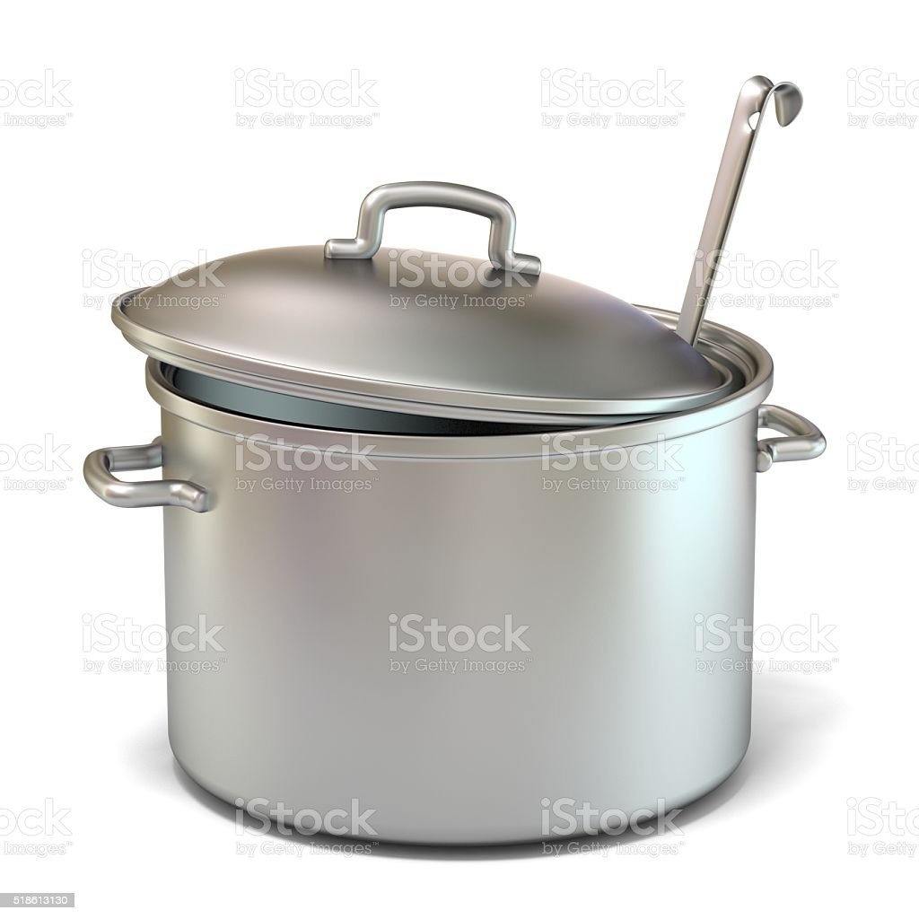 Steel cooking pot with a ladle. 3D stock photo