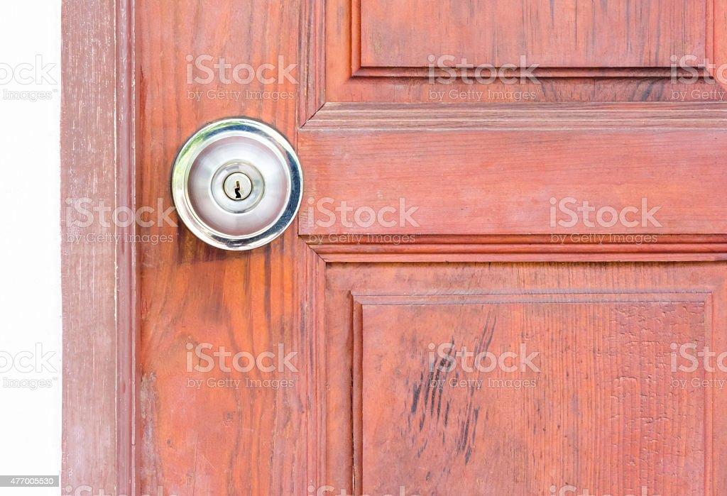 steel door knob on the wooden door stock photo