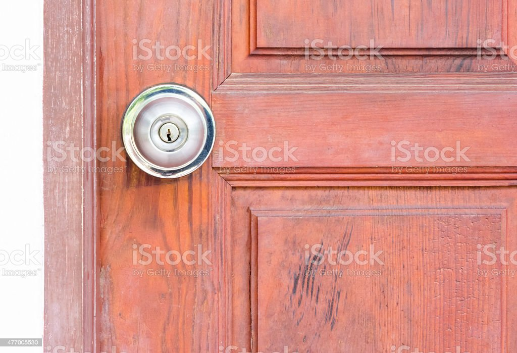 steel door knob on the wooden door stock photo
