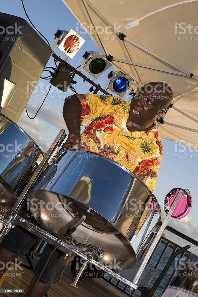 Steel Drummer Jamming stock photo