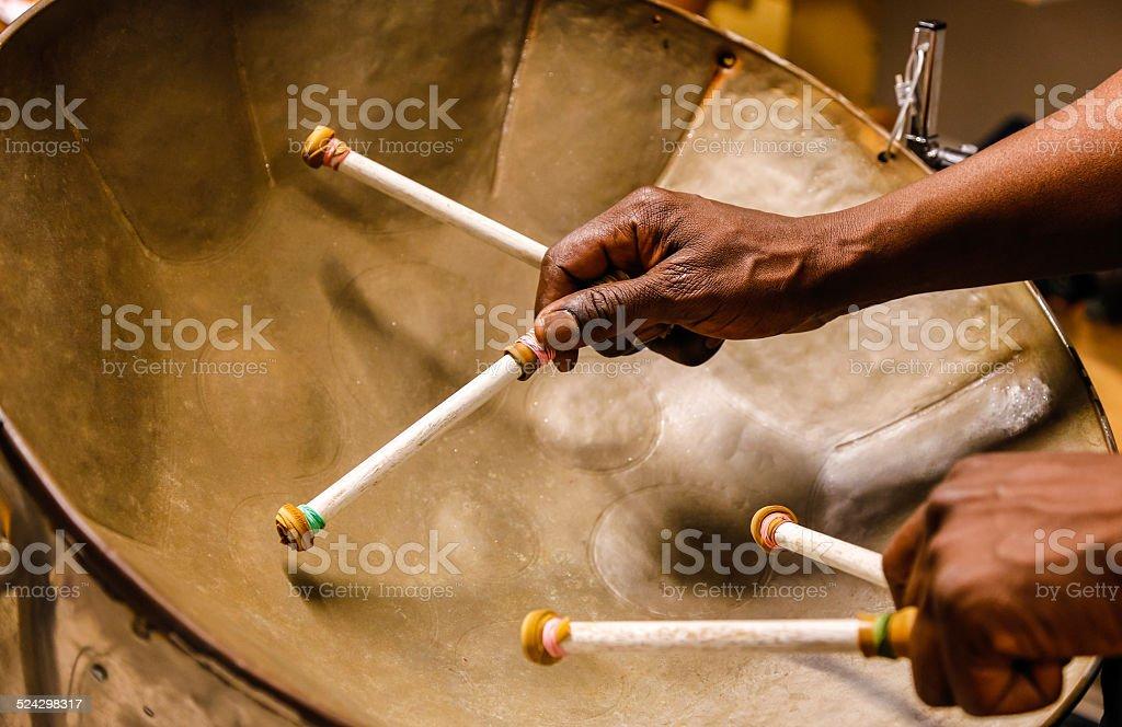 Steel drummmer stock photo