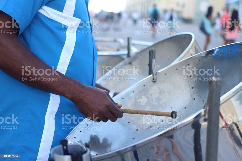 Steel drums on the boardwalk stock photo