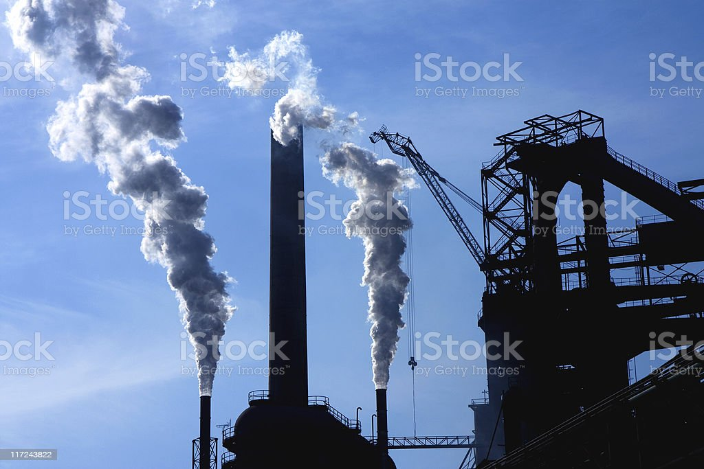 Steel factory and smoke royalty-free stock photo