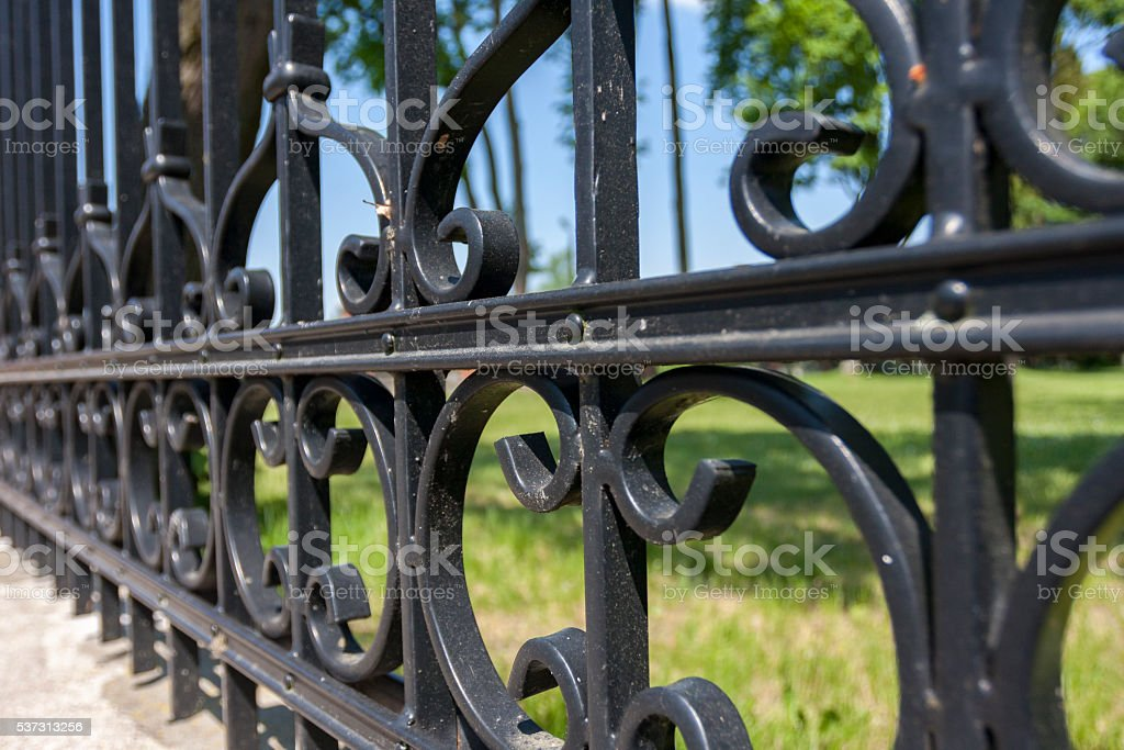 Steel fence with ornaments stock photo