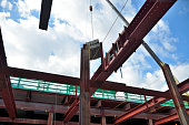 steel frame and blue sky: civil engineering construction site view