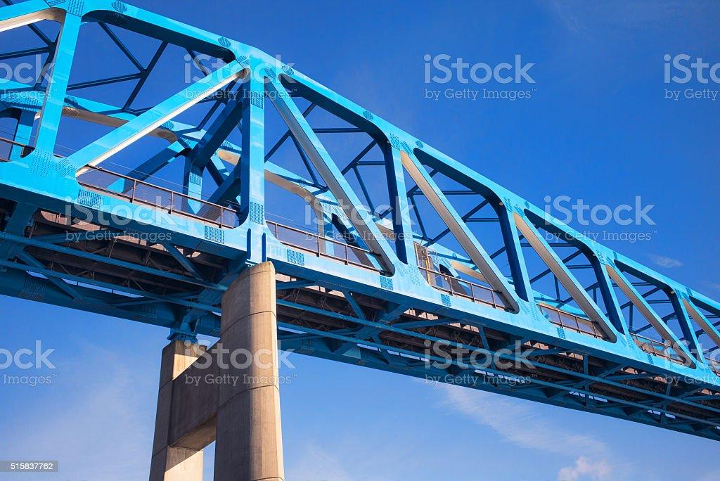 Steel frame bridge - low angle view stock photo