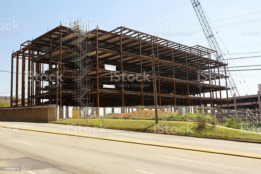 Steel Frame Building Construction Site in a City royalty-free stock photo