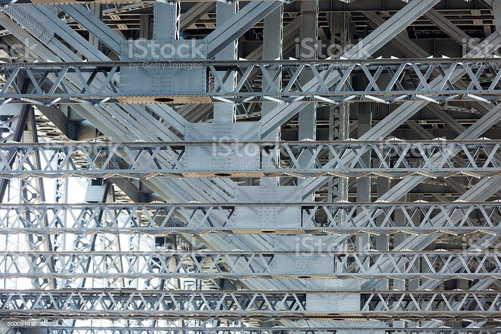 Steel frame, metal structure under Harbour Bridge Sydney Australia stock photo
