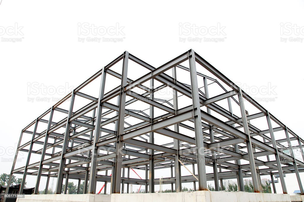 Steel frame structure stock photo