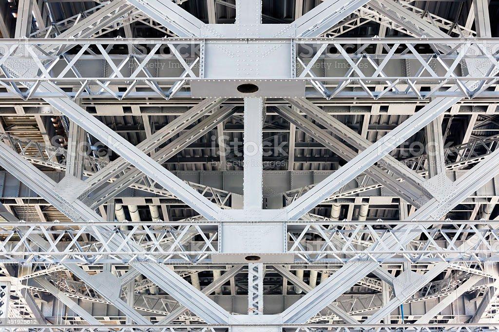 Steel frame, structure under the Harbour Bridge Sydney Australia stock photo