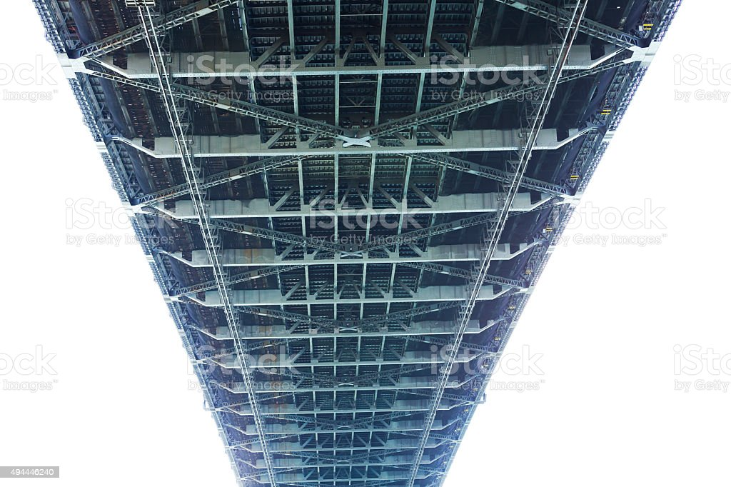 Steel frame under the Harbour Bridge, Sydney Australia, copy space stock photo