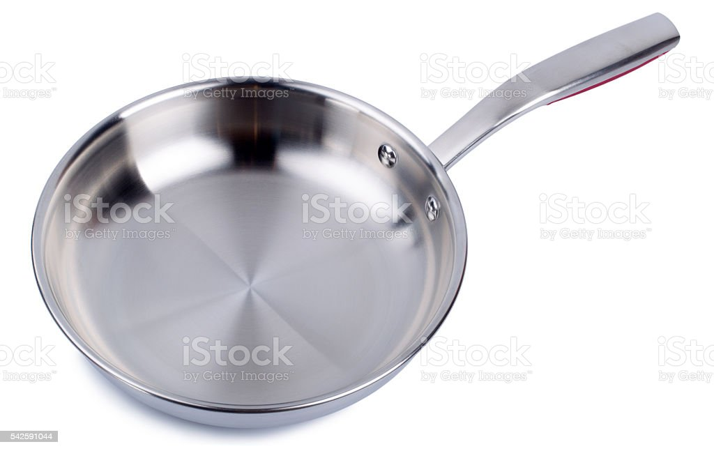Steel frying pan isolated on white background stock photo