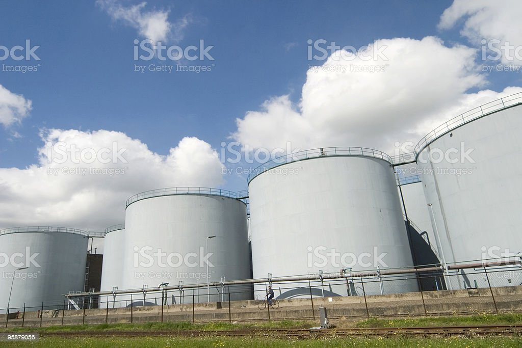 steel fuel storage tanks at an oil refinery royalty-free stock photo