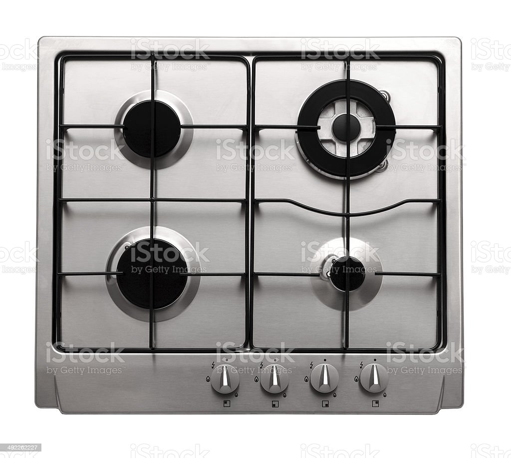 Steel gas hob stock photo