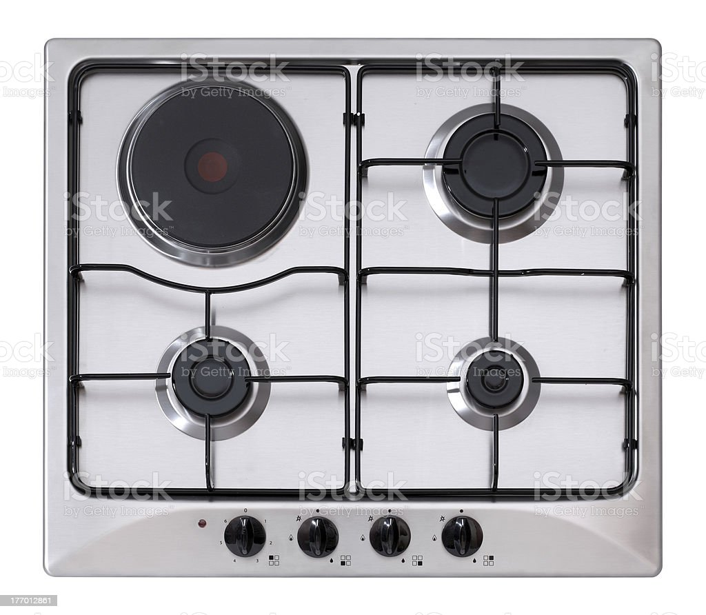 Steel gas-electric hob royalty-free stock photo