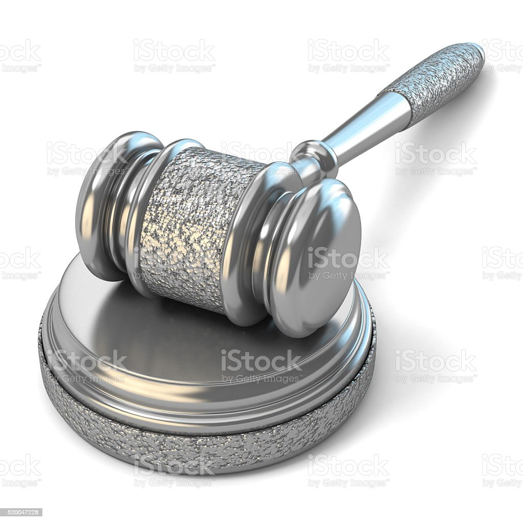 Steel gavel and soundboard on white background. Law concept. 3D stock photo