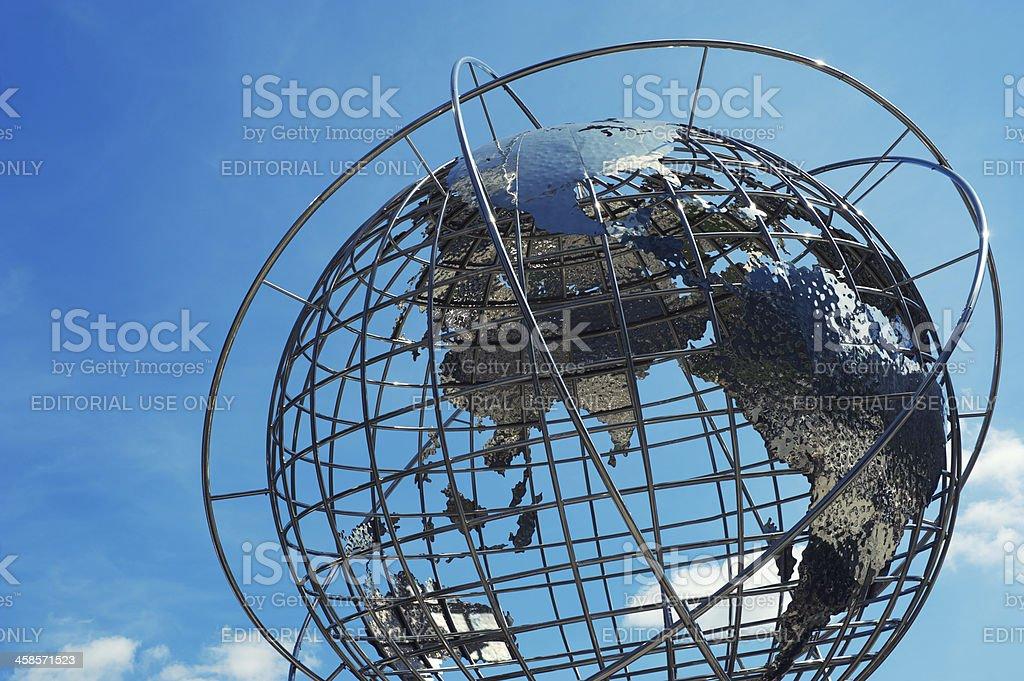 Steel Globe Sculpture Blue Sky stock photo