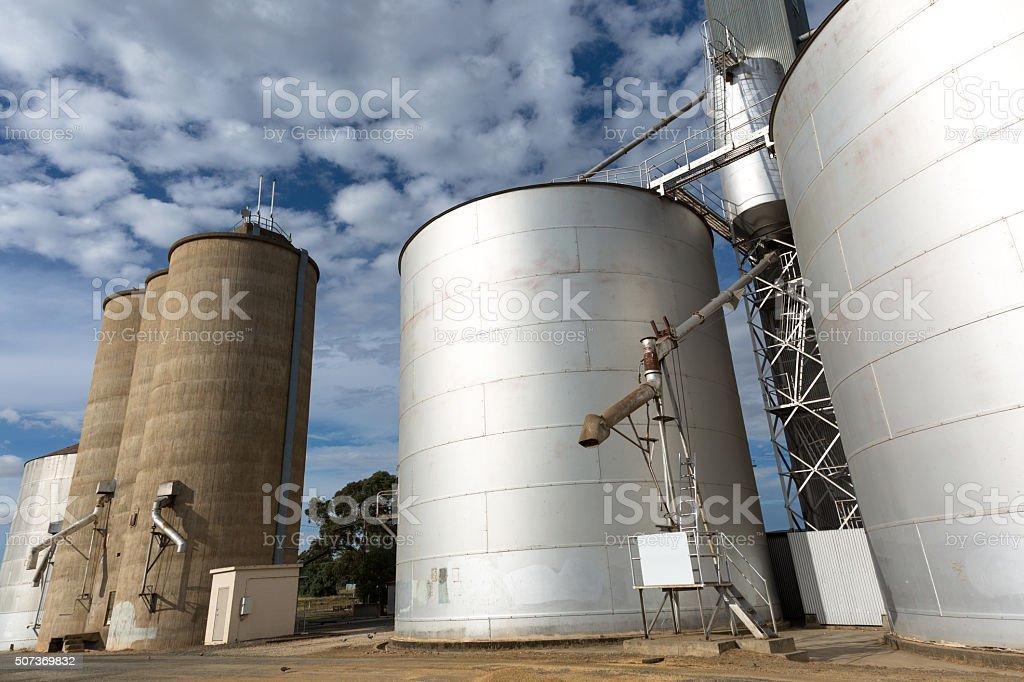 Steel grain Silos stock photo