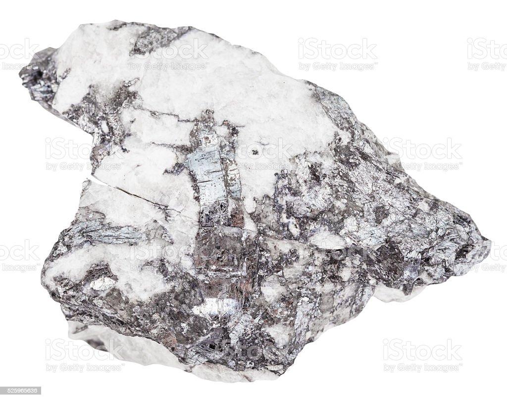 steel gray bismuthinite crystals in quartz rock stock photo