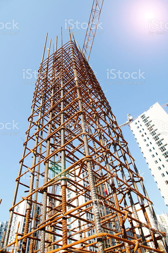 Steel grid on the construction site stock photo