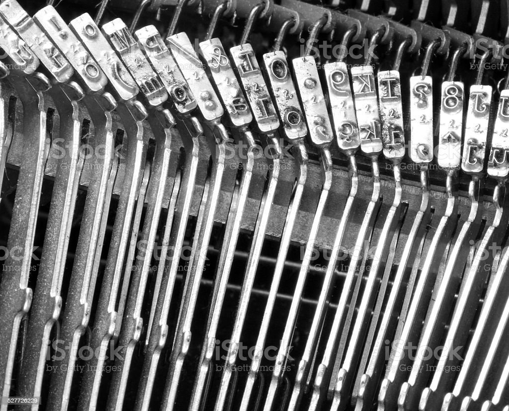 steel hammers for writing with an ancient typewriter stock photo