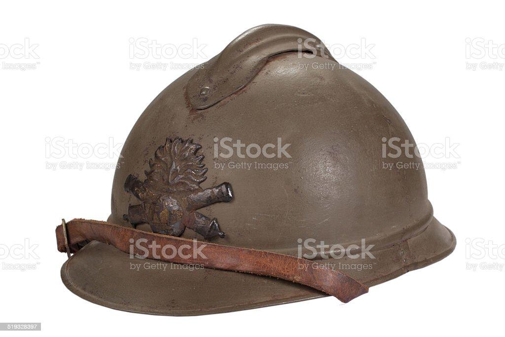 WW1 steel helmet stock photo